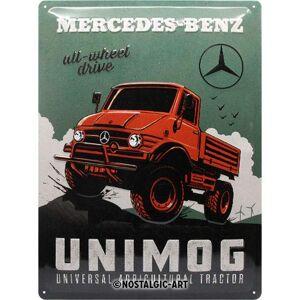 ART Retro Letrero de chapa Mercedes-Benz Unimog Idea de regalo para accesorios de coche, 30 x 40 cm, placa de metal