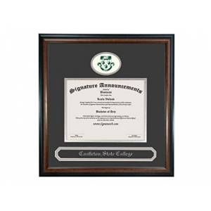 Signature Announcements Castleton-State-College Undergraduate, Graduate/Profesional/Médico esculpido Foil Sello y Nombre de Diploma Marco, 40.6x 40.6cm, Mate Caoba