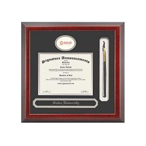 Signature Announcements Salus-University Marco de Diploma de graduación de 20 x 20 Pulgadas, Color Cereza