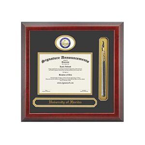 Signature Announcements Universidad de Florida (uf) Undergraduate y Graduate Diploma de graduación Marco con lámina de esculpido Junta, Nombre y Borla (Cereza, 23x 24)