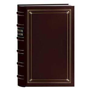 Pioneer Photo 204-Pocket Ring Bound Photo Album for 4 by 6-Inch Prints, Burgundy Bonded Leather with Gold Accents Cover