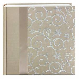 Pioneer Embroidered Scroll Ribbon Trimmed Fabric Cover Photo Album, Ivory on Ivory