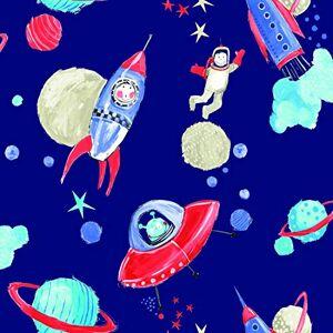 Arthouse Papel Tapiz para decoración Infantil, diseño de Cohetes, Espacio Azul, Planetas