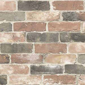 NuWallpaper NU2064 Newport Reclaimed Brick Peel & Stick Wallpaper