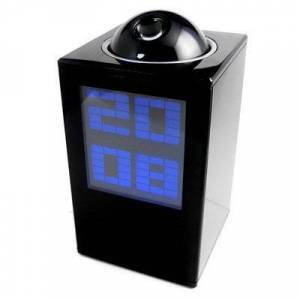 redcolourful Projection Desk Alarm Clock Digital LED Projector Black Household Items