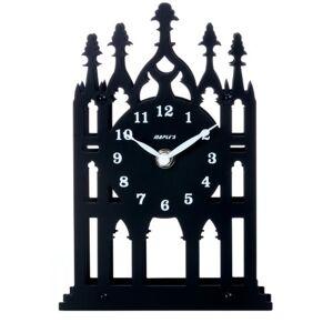 Maple's Clock Maple Cathedral Reloj de Mesa, diseño de Silueta de Spire Metal, Color Negro