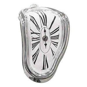 MagiDeal Reloj Derretido Diseño Creativo (Marco de Color Blanco/Negro / Oro/Plata Seleccionable) Plata