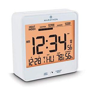 Marathon Atomic Reloj de escritorio luz automática de noche, con índice de calor y comodidad pilas incluidas
