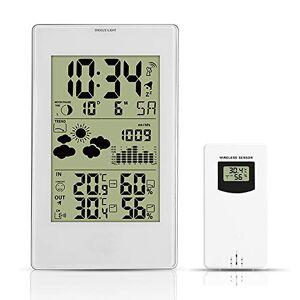 Cqing Estación meteorológica Digital de Alarma del Reloj de Pared LED termómetro higrómetro barómetro Tiempo Calendario Humedad Display Fase de la Luna Wireless Sensor En/Reloj de Mesa al Aire Libre