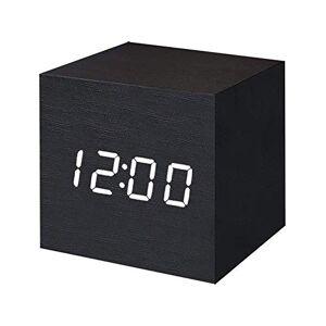 AVEDISTANTE Reloj Digital Despertador de Alarmas con Función de Control de Voz y Brillos Ajustables con Indicador de Temperatura y Tiempo Negro, Mini Cubo