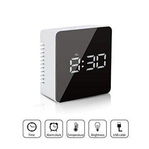 Fashion·LIFE Reloj Despertador Digital LED Despertadores Electrónicos Relojes de Pantalla con Función Snooze Temperatura USB Puertos para Dormitorio Oficina Viajes,Cuadrado Blanco