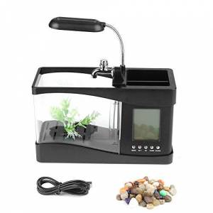 Fdit Acuario Multifuncional USB Recargable Escritorio Electrónico Mini Tanque Peces Agua Funcionamiento Bomba Calendario Reloj Función LED (Negro)