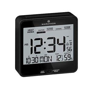 Marathon CL030054BK Atomic Desk Clock, with Backlight, Heat & Comfort Index Batteries Included
