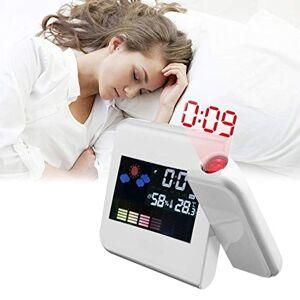 Dofranmigo Reloj Digital electrónico de previsión meteorológica Pantalla LCD Reloj Despertador Calendario Proyector Luz de Fondo LED Home Bedside Desktop Decor