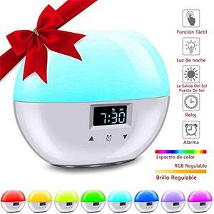 Younar Wake Up Light Despertador, Inteligente LED Daylight Alarm Clock Digital 8 sonidos naturales Sunrise Sunset Simulation Despertadores,9 colores naturales con cable de carga USB Control táctil de luz nocturna