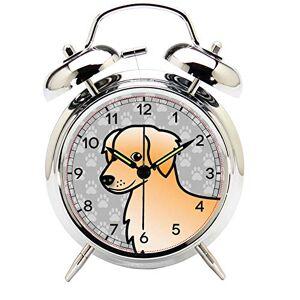 TEMEITE Reloj despertador silencioso de doble campana con botón de luz nocturna, funciona con pilas, para mesita de noche, reloj despertador de doble campana (plateado) 010.Golden Retriever, Barroco, 1