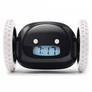 Nanda Home Clocky, Reloj Despertador original sobre Ruedas   Forte para los durmientes pesados (Habitación para adultos y niños) Clockie Guay, Divertido, Fugitivo, Salta, Persigue, Huye, Move, Corre (Negro)