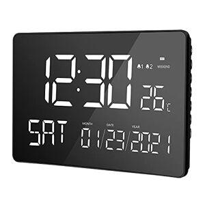 LIORQUE Reloj despertador digital, pantalla LED curvada de 11.2 pulgadas, reloj de día digital con alarmas duales, calendario, modo de fin de semana, temperatura interior, 12/24H, DST para personas mayores