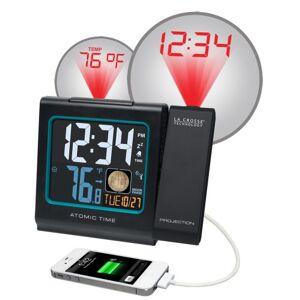 La Crosse Technology 616-146A Reloj Despertador con proyección LCD a Color, 5 Pulgadas, con Fase Lunar, Color Negro