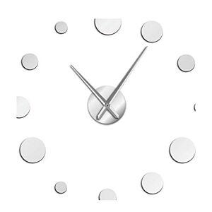 Yeaha Reloj de Pared Redondo Grande, diseño Moderno, sin Marco, Gigante, Reloj de Pared para decoración del hogar, Accesorios para Bricolaje, Regalo de entusiastas, Plateado, 37 Inch