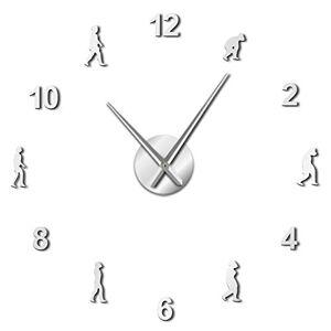 yage Reloj de pared Gran teoría de la evolución humana Diy Arte de la pared Reloj de pared gigante Hombres Evolución Decoración del hogar Aguja gigante sin marco Reloj de pared Regalo de la ciencia Plata Adecuado para el dormitorio de la oficina en el hog