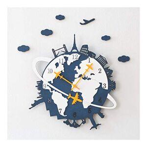 CMQ Reloj Europeo Moderno de la Pared Creativo de la Sala de Oficina del hogar silencioso Reloj de Cuarzo Restaurante Cafetería Bar decoración de la Pared del Reloj (Color : Blue, Size : 41cm*45cm)
