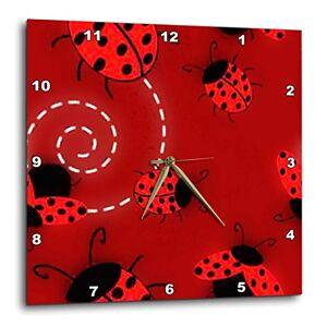 3dRose LLC 3dRose DPP_61128_1 Ladybug Pattern-Wall Clock, 10 by 10-Inch
