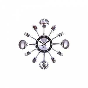 Hiloo 31 41 cm Acero Inoxidable Cuchara de Cocina Reloj de Pared silencioso Reloj de Pared decoración de salón Estilo mediterráneo decoración del hogar Plata, 35 cm, 35cm