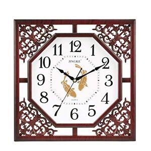 LE Reloj de Pared de Cuarzo, Cuadrado, Decorativo, Estilo Chino, Apto para Sala de Estar, recámara, Pasillo, casa, Rojo