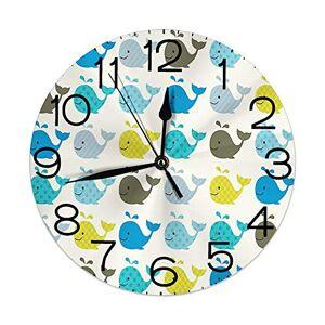 GULTMEE Reloj de pared redondo decorativo para el hogar, diseño de peces, ballenas, peces en varios tonos, impresión digital Sea Creature Marine Life, diámetro: 10,2 pulgadas/grosor: 0,2 pulgadas, amarillo y azul