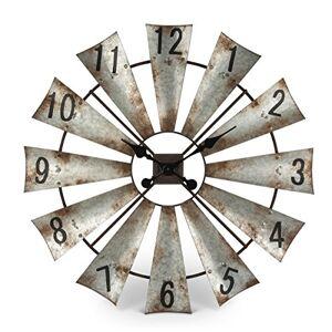 Gerson Reloj de Pared Redondo de Metal rústico con Molinillo de Viento de 76,2 cm