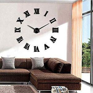 llsmting Relojes de Pared para Sala de Estar Sin Marco Bricolaje Grande Silencioso 3D Espejo Etiqueta de Superficie Decoración para el hogar Arte Reloj Gigante con Grandes números Romanos 37 Pulgadas