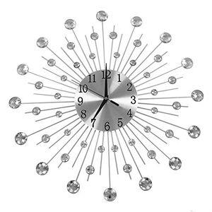 Yosoo o diseño Creativo de Hierro en Forma de Flor montado en la Pared Rhinestone Reloj de Pared Colgante decoración del hogar Astilla