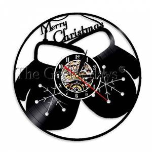 GEDASHU Reloj de Pared de Vinilo Guantes Reloj de Pared Reloj de Vinilo Reloj de Tiempo de grabación Luz LED Vintage Feliz Navidad Regalo Reloj Decoración para el hogar