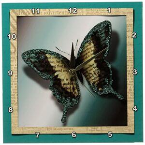 3dRose LLC Purpurina Mariposa 10por 25.4cm Reloj de Pared