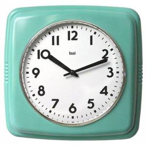 bai Reloj de Pared Cuadrado, diseño Retro, Color Turquesa