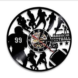 mubgo Relojes De Pared Reloj De Pared Moderno De La Decoración Del Fútbol Americano Reloj De Pared De Los Jugadores De Fútbol Silueta Rugby Vinyl Record Reloj De Pared Regalo Para Amante De Los Deportes Sin Luz