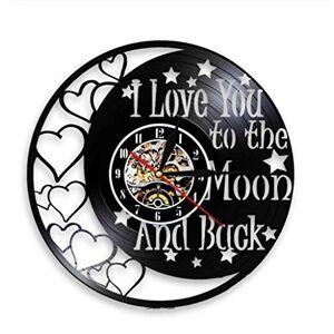 fsswsh I Love You To The Moon Love Vintage Vinyl Record Reloj De Pared Romántico Día De San Valentín Decoración Familiar Reloj Pareja Regalo DIY Cuarzo Digital