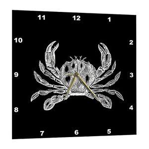 3dRose Crab X-Ray Dibujo científico Black and White Nautical Beach Sea Reloj de Pared, 38,1 x 38,1 cm (DPP_164905_3)