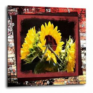3dRose dpp_36474_3 Bursting Sunflowers-Wall Clock, 15 by 15-Inch