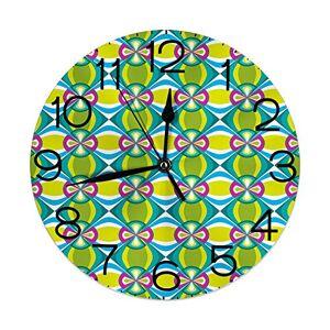 GULTMEE Reloj de pared redondo para decoración del hogar, diseño geométrico de botánica de adorno clásico abstracto floral con efecto grunge para sala de estar, oficina, recámara, Colorido3, 10.2 inch