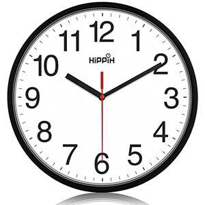 Hippih Reloj de pared negro silencioso, cuarzo de calidad, redondo, fácil de leer para el hogar, oficina, escuela, reloj rojo de segunda mano