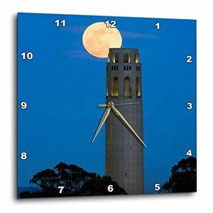 3dRose DPP_88428_3 Moon, Coit Tower, San Francisco, California US05 JGS0013 Jim Goldstein Reloj de Pared, 15 x 15 Pulgadas