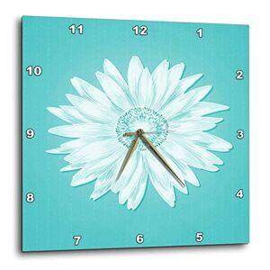 3dRose DPP_112095_1 Reloj de Pared, diseño de Margarita Sencilla sobre Fondo Turquesa, 25.4 x 25.4 cm