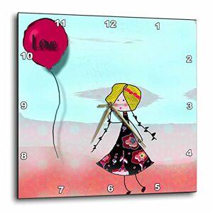 3dRose Love Globo y Linda Cartoon Girl  Reloj de Pared, 33 x 33 cm (DPP_167198_2)