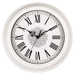 xutingting Reloj de Pared Relojes de Pared Redondos silenciosos, no marcados, de 12 Pulgadas, Blancos, Decorativos, Estilo Vintage, Reloj con número Romano, Cocina casera, Sala de Estar, Dormitorio