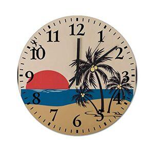 YYone Reloj de pared de madera con mecanismo silencioso y preciso, funciona con pilas, para oficina, sala de estar, dormitorio, 25,4 cm, redondo, de madera