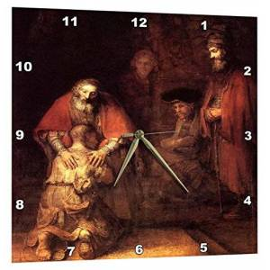 """3dRose DPP_203890_3 Print of Rembrandt Painting The Prodigal Son Wall Clock, 15"""" x 15"""