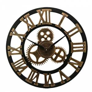 VOSAREA Gear Wall Clock 3D Retro Rustic Country Decorative Industrial Decor Living Room Gift (40cm Golden Shipment Without Battery)