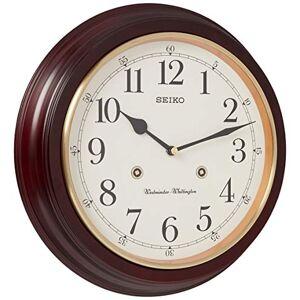 Seiko Reloj de Pared Redondo con Acabado de Grano de Madera de 30,5 cm con Doble Campanilla de Cuarto de Hora